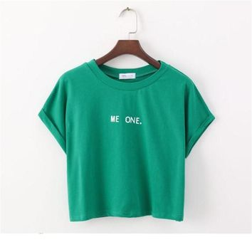 Merry Pretty New Summer Harajuku Cute Women T-Shirt Letter Print cotton Crop Top Green T Shirt Short Sleeve Girl Tshirt Tops Tee