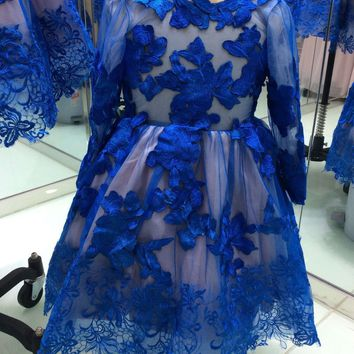 Sexy Scoop Lace Short Homecoming Dresses 2017 With Long Sleeves Zipper Appliques Girls Prom Cocktail