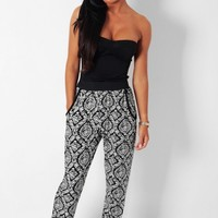 Jazmin Black & White Print Harem Style Stretch Pants | Pink Boutique