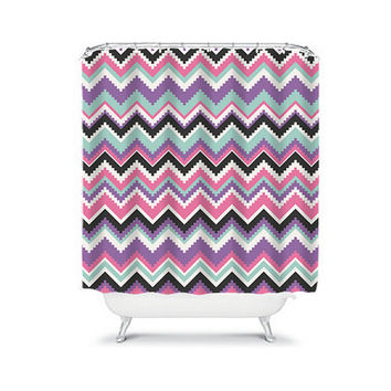 Shower Curtain Aztec Tribal Chevron Colorful Turquoise Pink Purple Geometric Pattern Bathroom Bath Polyester Made in the USA