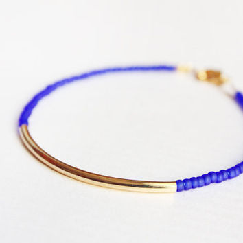 cobalt gold bar bracelet  minimalist jewelry  beaded by PetiteCo