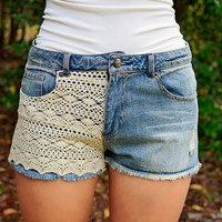 Crochet Denim Shorts