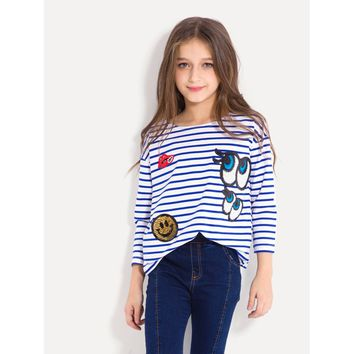Girls Contrast Sequin Striped Tee