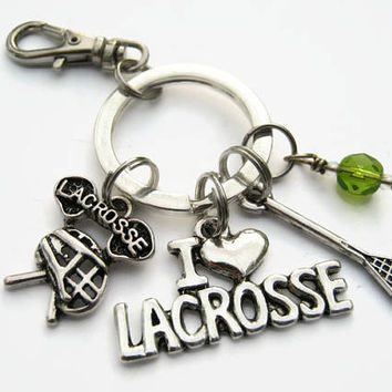 Lacrosse Keychain, I Love Lacrosse Zipper Pull,  Personalized Accessory, Athletic Keychain Lanyard, Lacrosse Player Gift, Sports Inspired