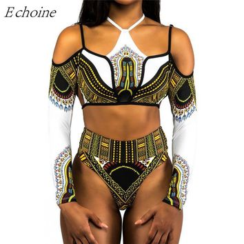 Echoine 2018 New Africa Ethnic Print Long Sleeve Bikini Set Padded Halter High Waist Tankini Swimwear Sexy Bathing Suits Maillot