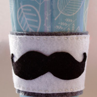 White Grey and Black Felt Mustache Coffee Cozy - Accessories Unisex Gift Women Men Starbucks Coffee cup holder