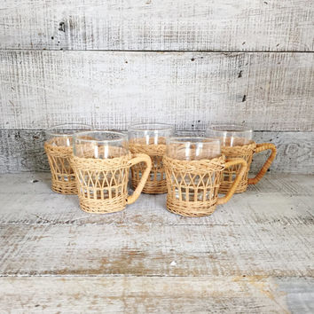 Glasses Set of 5 Pilsner Glasses with Wicker Holder Wicker Cup Holder Hot or Cold Drinks Retro Cocktail Mugs Mid Century Barware Coffee Mugs