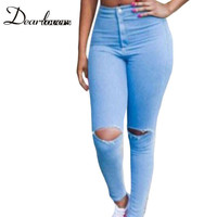 Dear lovers Ladies ripped Imitate jeans High Waist Torn Knee Women Pants LC78619 Sexy fitness legging plus size women clothing