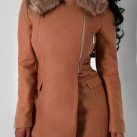 Ruth Camel Faux Fur Collar Coat | Pink Boutique