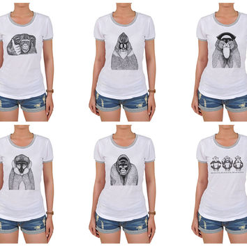 Hand Draw Monkeys Graphic Printed Short Sleeves T-shirt WTS_06