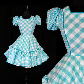 Vintage Blue & White Dress - Size XS Small 1950s 1960s Square Dancing Dress / Plaid Ruffles