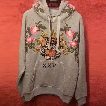 LMFOK3 Gucci Fashion Tiger head Floral Embroidered Hooded Top Pullover Sweater Sweatshirt Hoodie