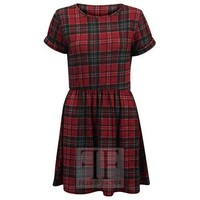 WOMENS RED SHORT ROLLED SLEEVE TARTAN PLAID STRIPED LADIES FRANKI SKATER DRESS