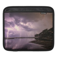 Lightning Strikes with Dark Clouds over Water Sleeve For iPads