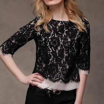 Black lace shirt  tulle Blouse vintage lace blouse women blouse fashion shirt blouse--TP045