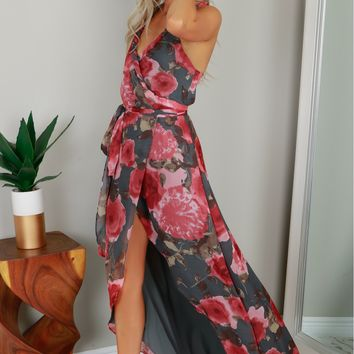 Twisted Wrap Floral Dress Slate