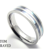 Engraved Stainless Steel Shell Ring - Personalized Steel Inlay Shell Ring - Personalized Ring - Custom Engraved Steel Ring - Unique Ring