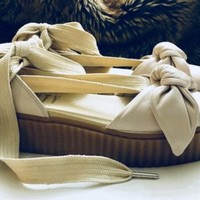 Fenty Bow Creepers, Puma for Rhianna, Tan, Natural, Size 6.5, Antique Alchemy