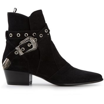 Saint Laurent Engraved Buckle Ankle Boot