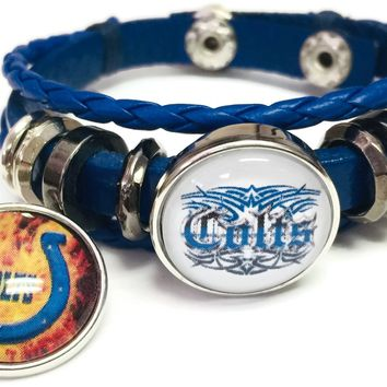 NFL Logo Indianapolis Colts Bracelet Flaming Horseshoe & Tribal Football Fan Blue Leather  W/2 18MM - 20MM Snap Charms New Item