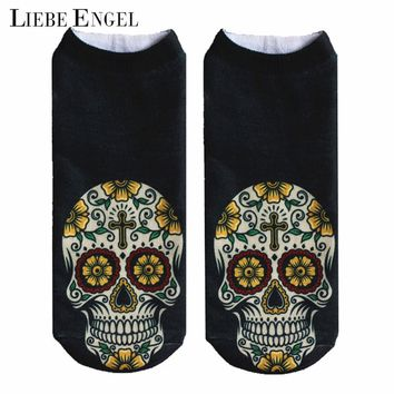 LIEBE ENGEL Punk Style Unisex Women Lady Men 3D Print Socks Casual Skull Flower Print Low Cut Ankle Socks Kawaii