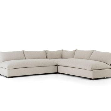 Grant 3 Piece Sectional-Oatmeal