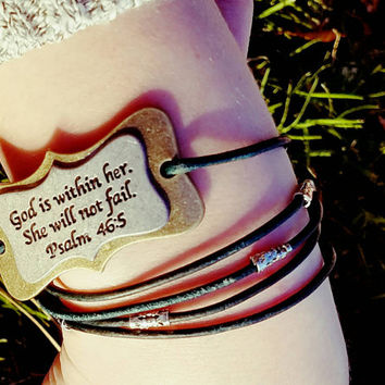 Wrap Around Cordon Bracelet With Verse