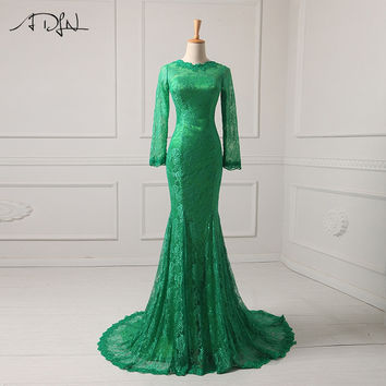 ADLN New 2017 Evening Dresses Long Sleeve Robe De Soiree Mermaid Lace Real Picture Formal Party Dress Celebrity Gowns US 2-26W
