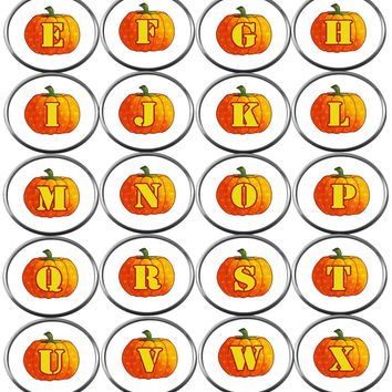 Polka Dot Pumpkin Monogram Alphabet Letter For Halloween Thanksgiving Fall 18MM - 20MM Snap Jewelry Snap Charm New Item