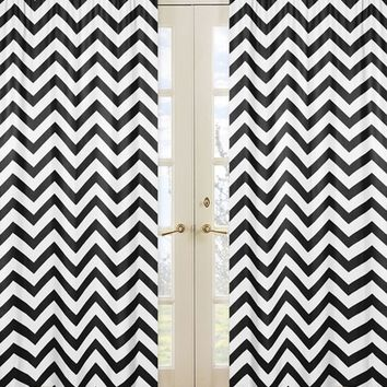 Chevron Black and White Window Panel Curtains