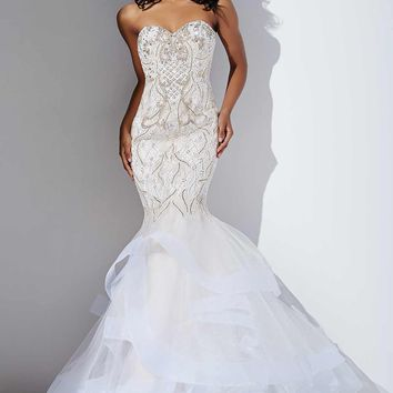 Ivory and Nude Tiered Mermaid Dress #27875