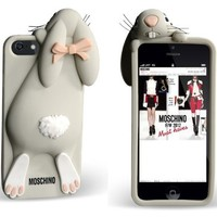 BYG Gray Soft Rabbit Bunny Silicone Back Cover Case for Iphone 5 5S 5G + Gift 1pcs Phone Radiation Protection Sticker