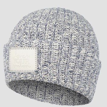 NAVY SPECKLED CUFFED BEANIE (FAUX LEATHER PATCH) Love Your Melon Hat