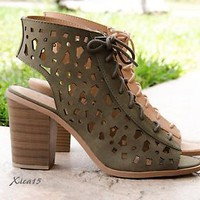Women's Heels Open Toe Lace Up Chunky Heel Sandals Caged Shoes Summer Casual New