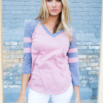 Gotcha Where I Want Ya Baseball Tee Dusty Rose