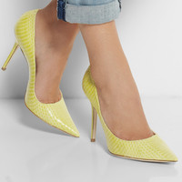 Yellow Snake Embossed Leather Pointed Toe Women Pumps Slip-on Pumps High Heel Stilettos Heels Shoes Women Size 15 OL Shoes Party