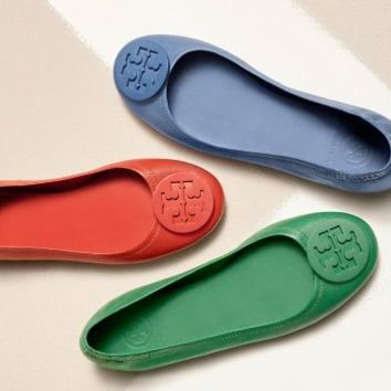 Tory Burch Minnie Travel Ballet Flat With Logo, Leather