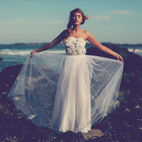 Simply breathtaking strapless wedding dress with sheer lace appliqued top and dreamy tulle skirt