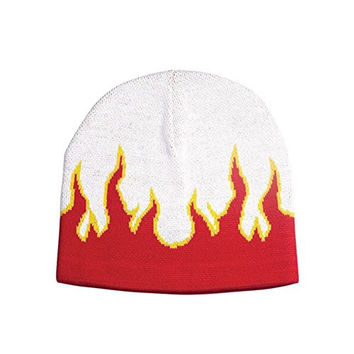 FLAME ON FLEECE BEANIE CAP, White Red