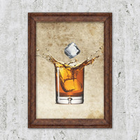 Whiskey Art on Vintage Background Cocktail Art Scotch Print Alcohol Bar Drink art print old paper parchment papyrus print page Wall Decor