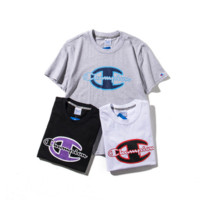 Champion Casual Round Neck Print Short Sleeve T-Shirt