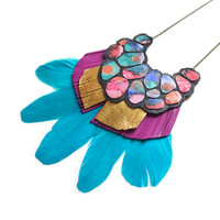 Turquoise Feather Statement Necklace, Fuchsia Gold Fringe Geometric Jewelry | Boo and Boo Factory - Handmade Leather Jewelry