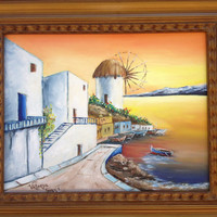 Santorini sunrise. Originally hand painted canvas. Oil paint . Size 16x20. Framed holiday birthday gift original design pallet knife techni