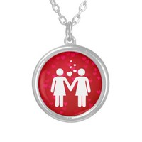Lesbian Couple In Love LGBT Pride Round Pendant Necklace