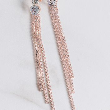 AKIRA Dangling Chain Post Back Cushioned Chandelier Earrings in Rose Gold