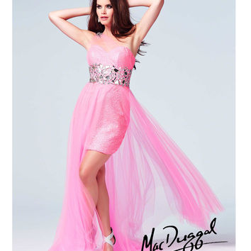 Mac Duggal 76560A Neon Pink Large Stone & Sequin Embellished Illusion Sweetheart High-Low Gown 2015 Prom Dresses