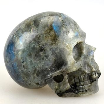 Skull Skulls Halloween Fall 4.0'' Natural Labradorite Carved Crystal ,Collection of statues, home decor,Crystal Healing,crystal  Sculptures Calavera
