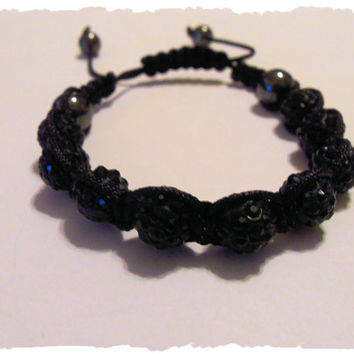 Bling Black Unisex Shamballa Bracelet With Pave Shamballa Rhinestone Beads, Hematite Crystal Beads And Black Macramé Cord
