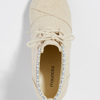 tilly wedge with embroidered trim in natural