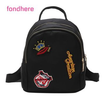 fondhere 2017 Women Backpack Fashion Brand Embroidery Letter Printing Backpacks For Girls Summer Small Bag
